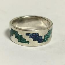STERLING SILVER INLAID STONES BAND RING SIZE 7 1/4 MEXICO 925 FINE 7.2G NICE!