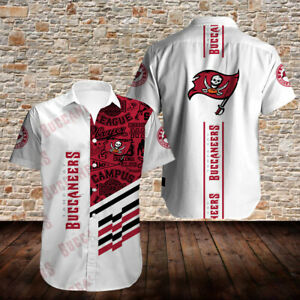 Tampa Bay Buccaneers Men's Summer Casual Shirts Short Sleeve Button-up T-Shirts