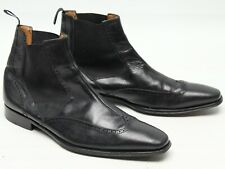 Mezlan Mens Chelsea Boots 10 M Black Leather Wingtip Brogue Ankle Wingboots