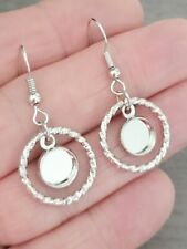 3 Pair 8mm Circle Dangly Earring Silver Tone cabochon resins blank setting