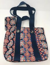 MARC JACOBS Women's Tote Bag Blue Handbag Purse With Coin Wallet Floral