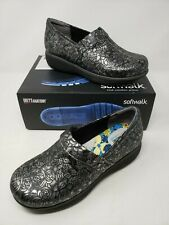 SoftWalk Grey's Anatomy Meredith Black Metallic Leather Clogs Shoes Womens 7 M