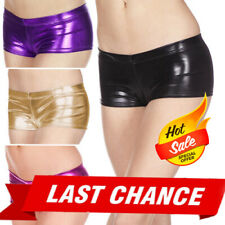 Shiny Metallic Low Rise Booty Shorts Wetlook Roller Derby GoGo Dancer Outfit US