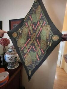 """HERMES """"Selles a Housse"""" Gray Green Pink Silk Saddle Pattern Pleated Scarf"""