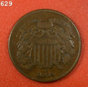 """1864 Two-Cent Piece """"Fine"""" *Free S/H After 1st Item*"""