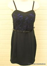 Juniors Party Dress Cobalt Blue/Black Lace Slip Dress Sz Medium Lily Rose NWT