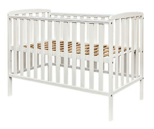 Kinder Valley Compact Cot White - 100cm x 50cm Havana Solid Pine Baby Cot