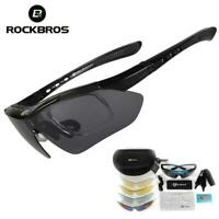 ROCKBROS Polarized Cycling Sunglasses Bike Goggles Hiking Glasses Black 5 Lens