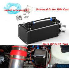 Black Square Billet Aluminum Engine Oil Catch Tank Can Reservoir Breather Kit