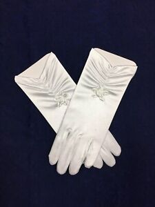 White Satin Ruched Glove  Ideal Holy Communion, Bridesmaid/Flower Girl BN