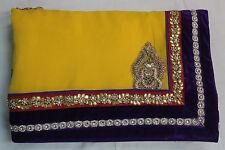 Indian Traditional Bollywood Designer Gota Work Saree Sari Bridal Party Dress