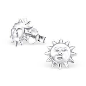 Childrens Ladies Sterling Silver Sun Stud Earrings  - Boxed