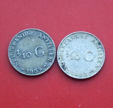 Niederlande-Antillen: Lot 2 x 1/10 Gulden 1959 + 1962 Silber, F# 2168