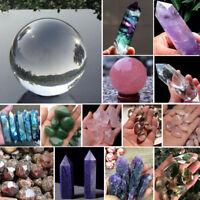 100% Natural Fluorite Amethyst Quartz Crystal Stone Point Healing Wand Gemstone