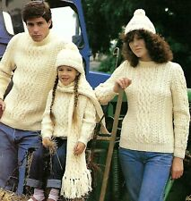 LADIES MANS CHILDS ARAN SWEATER HAT SCARF KNITTING PATTERN 24/46 (1418)