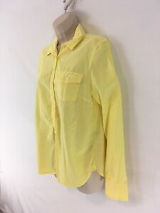 J Crew Womens S Yellow Cotton Pullover Button Front Shirt Top Blouse