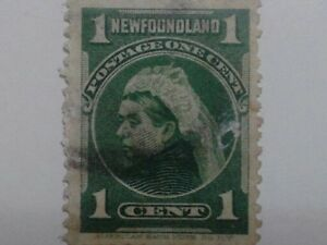 Queen Victoria 1897 Newfoundland Royal Family Stamp - 1 Cent - Green