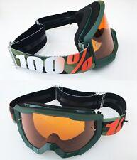 100% Por Cien ESTRATOS MOTOCROSS MOTO Gafas huntisan Verde Con Naranja tintado
