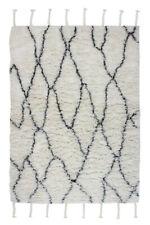 Carpet Wool Franzen Braids Berber High Pile Shaggy Lozenges Beige Cream 80x150cm