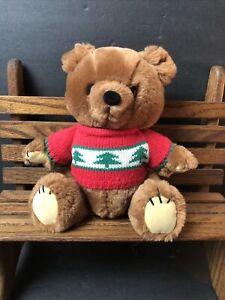 "Vtg Dakin Bear Plush Wearing Christmas Sweater 8"" Stuffed Animal"