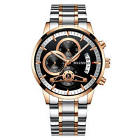 BELUSHI Luxury Men's Stainless Steel Chronograph Date Analog Quartz Strap Watch