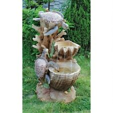 Turtle Cove Cascading Sculptural Design Toscano Fountain With LED Lights