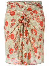 Isabel Marant Étoile Sevan Slavic Floral Poppy Print Ruched Skirt in Beige FR 34
