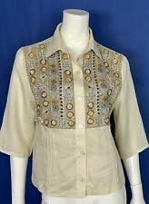 Luisa spagnoli camicia blusa maglia lino M strass top estivo donna usato T4872