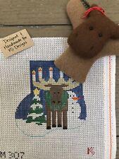 Handpainted Kathy Schenkel Mini Needlepoint Stocking Canvas w Stuffed Critter