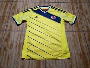 Adidas 2013 Colombia Soccer Short Sleeve Jersey Youth XL Yellow Futbol Kids Boys
