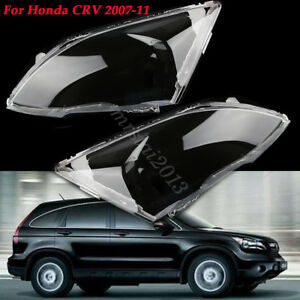 Front Bumper Headlight Lens Clear Lampshade Replacement For Honda CRV 2007-2011