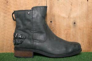 UGG 'Orion' Black Nubuck Leather Short Boots Women's Sz. 10 - Factory Seconds