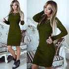 Women Knit Long Sleeve Sweater Jumper Dress Party Loose Bodycon Short Mini Dress