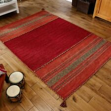 Kelim striped rugs hand woven cotton chenille made in india colour red on sale