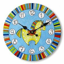 Wall Clock Pony Horse Cartoon Colourful Children's Round Wooden Hanging 29cm