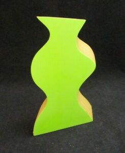 Collectible 3D Curved Perspective Wooden Green Vase from DMC ~ Highly Decorative