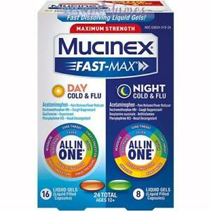 Mucinex Maximum Strength Fast-Max Day & Night Cold 24 Liquid Gels Exp 11/21 NIB