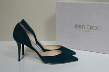 New sz 8 / 38 Jimmy Choo Addison Teal Suede D'Orsay Pointed Toe Pump Shoes