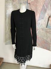 VINTAGE Valentino 1990s Black Kimono Lace Wool LBD Dress R Modern SZ XS / S