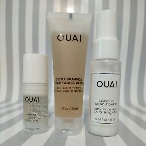 OUAI Hair Care 3 Piece Travel Set Hair Oil Leave in Conditioner Shampoo NEW