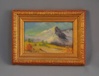 C. M. LAUGHLIN - SMALL OIL PAINTING SNOWY MOUNTAIN & MEADOW FLAGSTAFF TWIN PEAKS