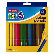 15 Colouring Assorted Colour Pencils Pack Kids School Art Craft Coloured Fun-New