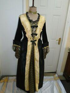 Georgian ladies ball dress XL size 46 inch bust black & gold theatre