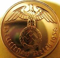 Nazi German 2 Reichspfennig 1938-Genuine Coin Third Reich-EAGLE SWASTIKA WWII