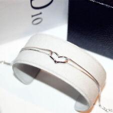 18K Gold Plated Love Heart Shape Bracelet Bangle SILVER