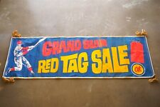 """Original Ok """"Grand Slam Red Tag Sale"""" Banner Sign Used Cars Dealer Chevrolet Gm"""
