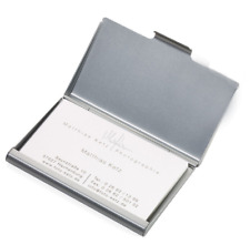 Visitenkarten Etui Business Card Box Visitenkartenhalter Metall Alu silber