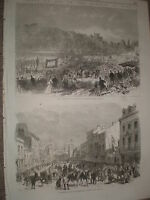 Marquis of Bute Cardiff Cooper's Field & Crockherbtown 1868 old print  Ref W1