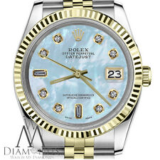 31mm Womens Rolex Datejust 18K 2T Baby Blue MOP Mother Of Pearl 9+6 Diamond Dial
