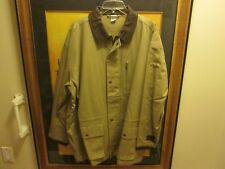 Men's Large Jacket 100% Cotton Lining & Shell Leather Collar New No Tags